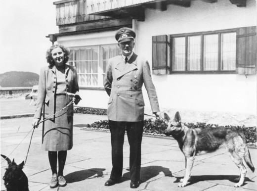 Hitler and his mistress Eva Braun in happier times
