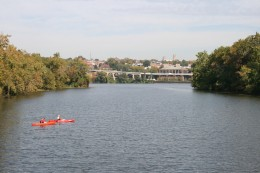 The west channel of the Potomac, with Georgetown top center. Roosevelt Island is at right.