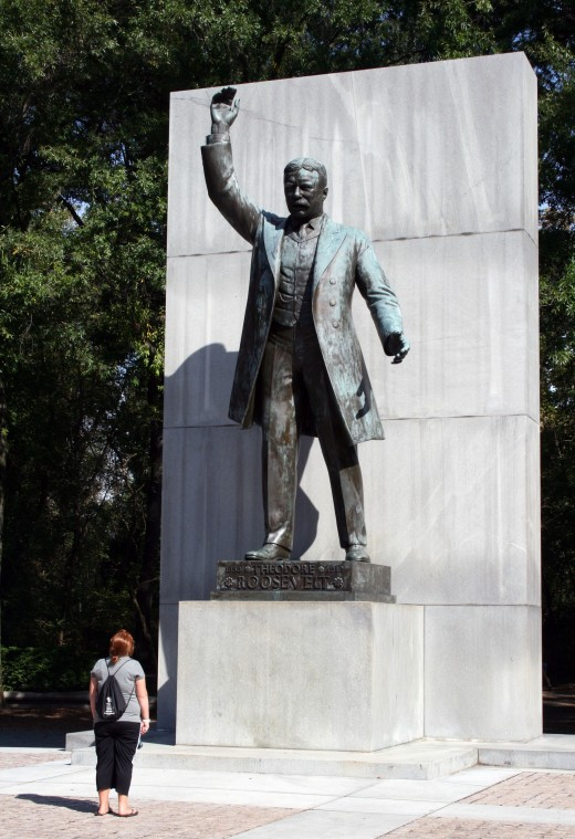 The 17-foot statue of Teddy Roosevelt stands on a bully pulpit