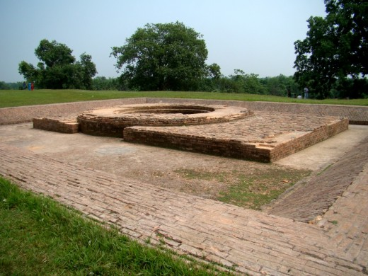 One of the excavated wells