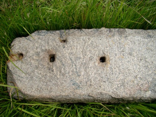 Huge stone slab with holes