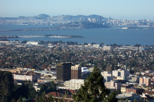 Downtown Berkeley with San Francisco beyond