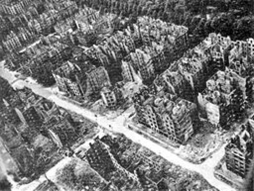 Ariel view of Hamburg after the bombing in 1943