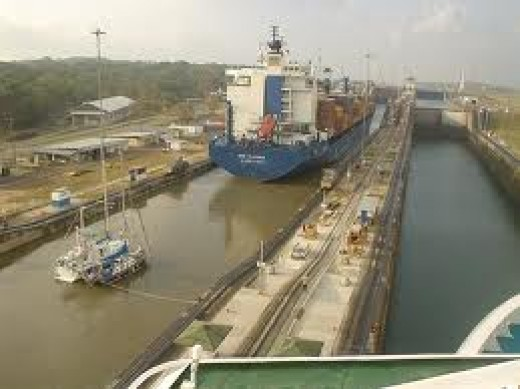 Approaching the Pacific Ocean through the Panama Canal