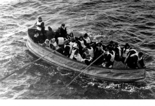 Titanic survivors on board one of the lifeboats on RMS Titanic