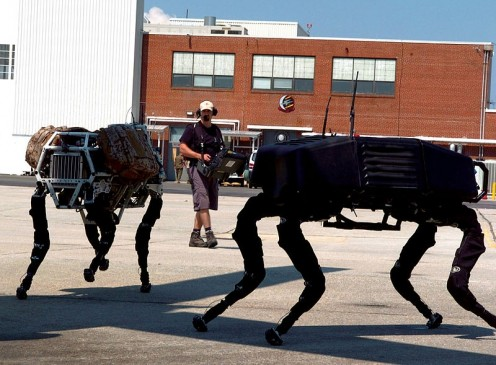 BigDog robots trotting around. BigDog is a dynamically stable quadruped robot created in 2005 by Boston Dynamics with Foster Miller, the Jet Propulsion Laboratory, and the Harvard University Concord Field Station.