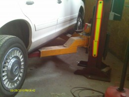 When the floor jack lifts the car stay safe by using jack stands to keep it from falling down.