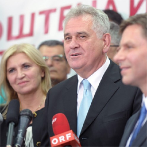 New president of Serbia, Mr. Nikolic - celebrating and announcing his victory to media.