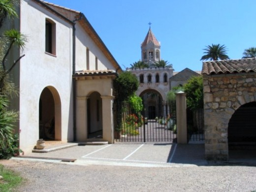 Church through monastery gate