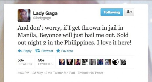 Personal tweet of Lady Gaga (Courtesy of GMA News)