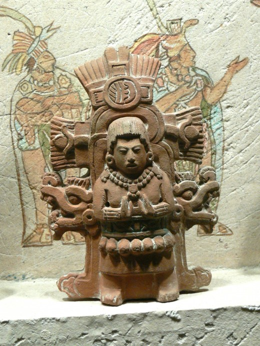 National Museum of Anthropology in Mexico City. Figure of a Maya priest.