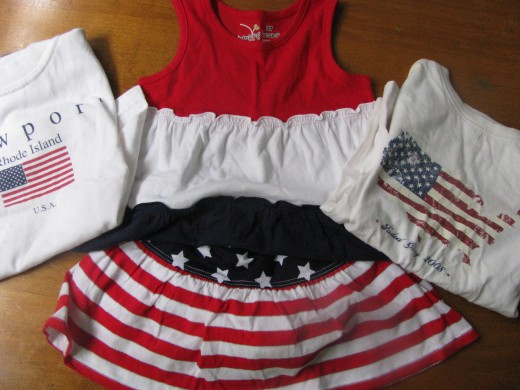 Patriotic clothing items like those pictured make for great pictures, but any red, white, and blue clothing will do!