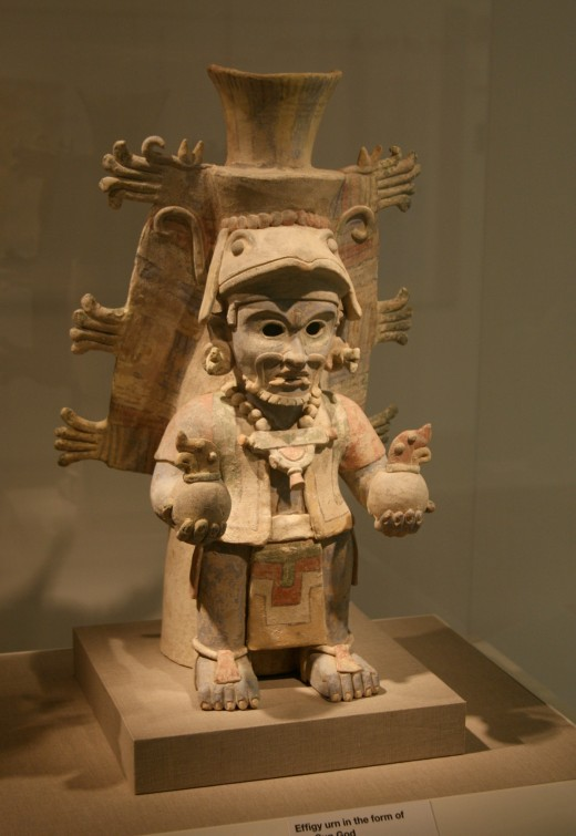 Terra cotta image of Mayan Sun God at San Francisco's de Young museum,