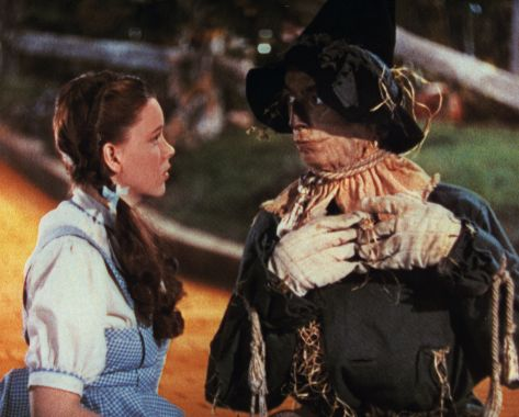 "Two masters at work. Judy Garland, Dorothy, and Ray Bolger, scarecrow, in a scene from ""The Wizard of Oz."""