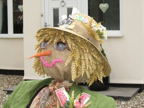 "Mrs. Scarecrow who probably yells at her husband, Mr. Scarecrow after a long day in the field, ""scared any crows today?"""