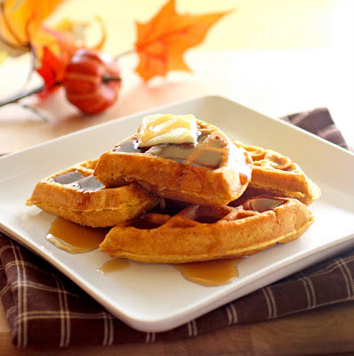 Pumpkin waffles from Christy at The Girl Who Ate Everything.  Recipe in the links below.