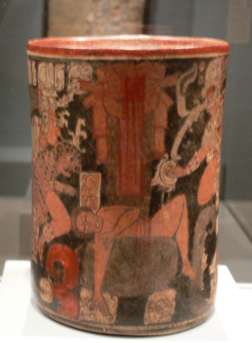 Cylindrical vessel with sacrificial scene; Maya, Guatemala or Mexico, c. A.D. 600 - 850.
