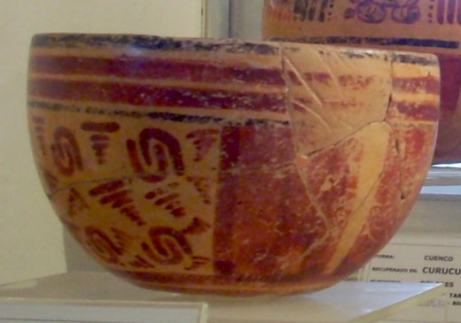 Late Classic Maya bowl from Suk Che', now in the Museo Regional del Sureste del Petén in Dolores, Peten, Guatemala.