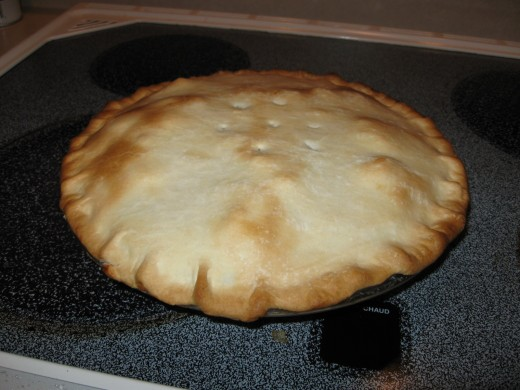 Chicken pot pie serves six.