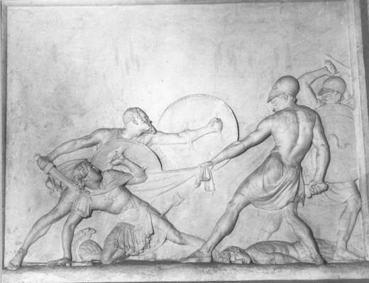 Socrates saving Alcibiades at Potidaea