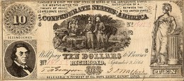 Depiction of a slave with his master, Confederate States of America $10 (1861)