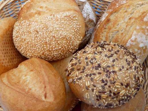 Bread and grains are a great choice to start a healthy breakfast.