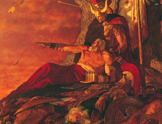 According to LDS belief, Mormon was the name of a prophet and general who edited the gold plates containing the story of Jesus's North American ministry, and died c. 400 A.D. In this painting by Arnold Friberg, he is shown with his son Moroni.