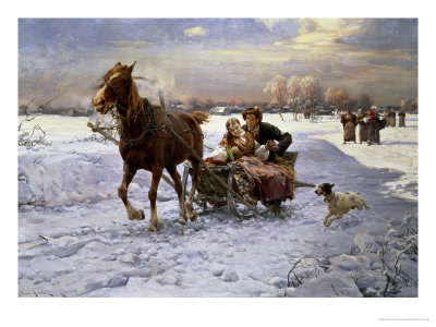 Lovers in a sleigh