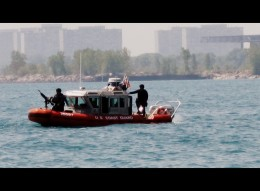 Armed US Coast Guard boat.
