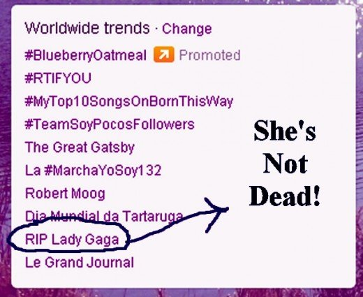 Wednesday, May 23, 2012 some people have gotten together to mass-tweet a fake tweet that Lady Gaga is dead. Nearly every days tweeters are making someone's fake death trend.