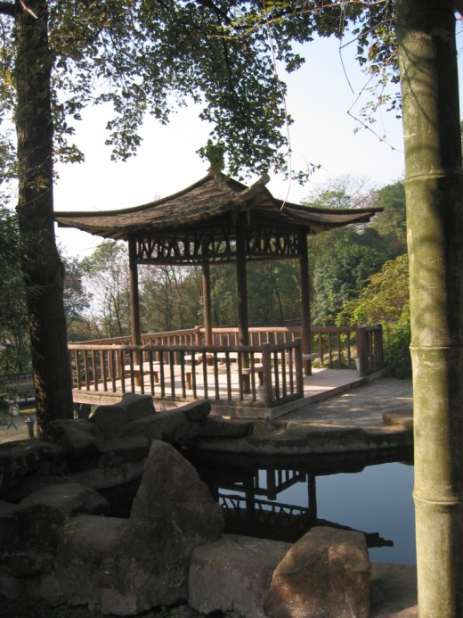 Chinese Pavilion by lake.