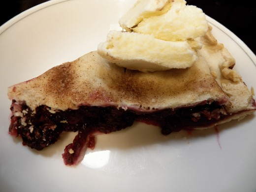 Blackberry pie with Blue Bell Vanilla Ice Cream!