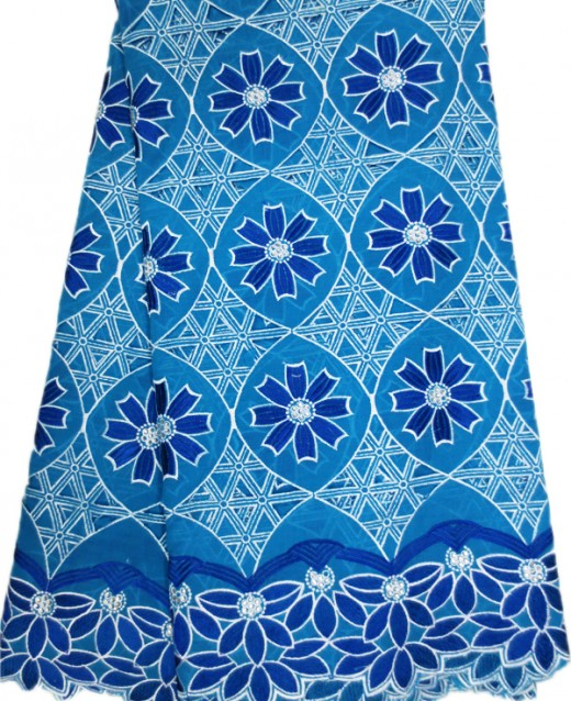 High quality voile lace with cut-out designs and stones.