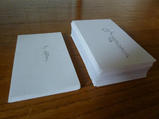 My flashcards for both semesters of Organic Chemistry (Orgo I on the left and Orgo II on the right); notice that there are many, many more flashcards for Orgo II