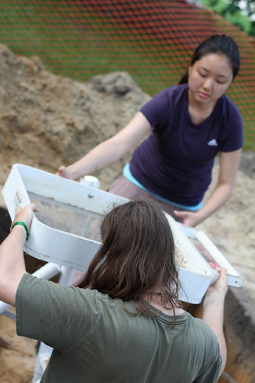 Archeologists engaged in fieldwork