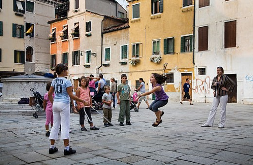 Venice, children playing in a campo.