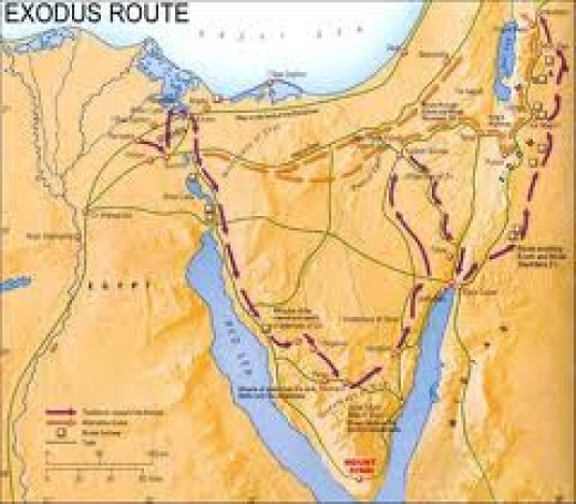 The Sinai peninsula map with marked route of the Israelite. The Israelite seem to be lost in the Sinai desert, because instead of moving towards the promised land they moved away and they took a long time to reach their father land.