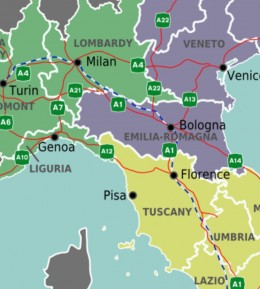 Location of Tuscany