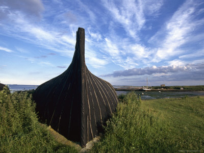 An upside-down Viking ship becomes a work shed.