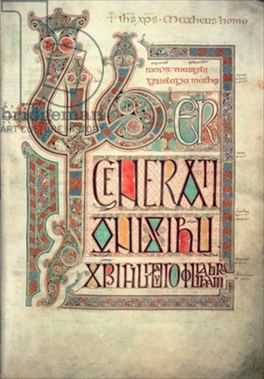 Incipit to the Gospel of St. Matthew, Lindisfarne Gospels.