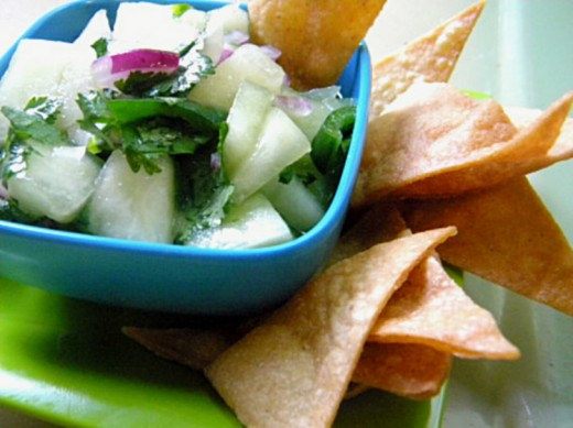 Honey Dew Salsa is a spicy hot, homemade condiment.