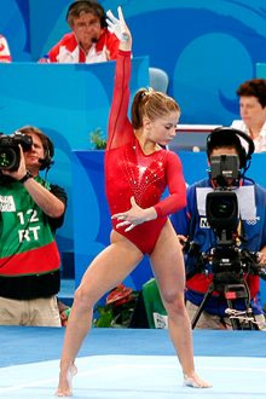 Shawn Johnson competing in 2008 Beijing Olympics