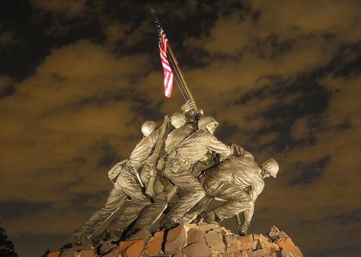 The Marine Corps War Memorial in Arlington, Virginia.