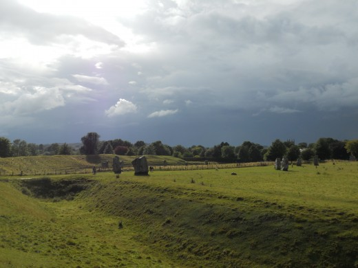 View of Avebury stone circle, showing part of the surrounding ditch