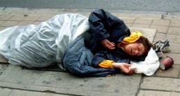 Private property laws prohibit homeless people from sleeping in stairwells and parking lots. Thus they sleep in the open away from awnings, stairwells, doorways and parking lots on city property. Sometimes they are forced to relocate from their too.