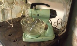 An avacado sunbeam mixmaster from the late 1960's