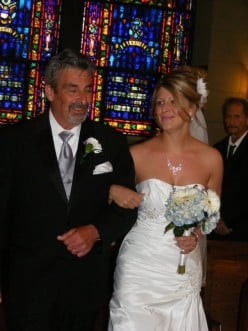 ME AND BEAUTIFUL DAUGHTER ON HER WEDDING DAY WALING HER DOWN THE AISLE IN CHURCH.