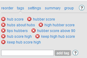 """Hubs about hubs"" is the tag I use on hubs that talk about hubs!"