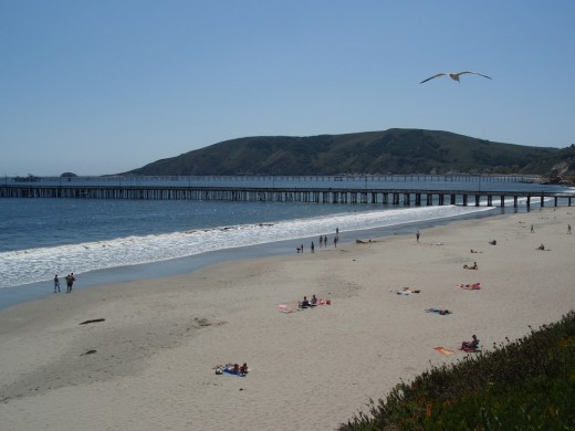 People are enjoying the sun and surf at Avila Beach, CA. The pier is in the distance.