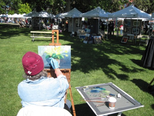 The Plein Air Quick Draw competition is an annual event at the Paso Robles Festival of the Arts. I took this picture last year, 2011, with my Canon PowerShot A1100 IS